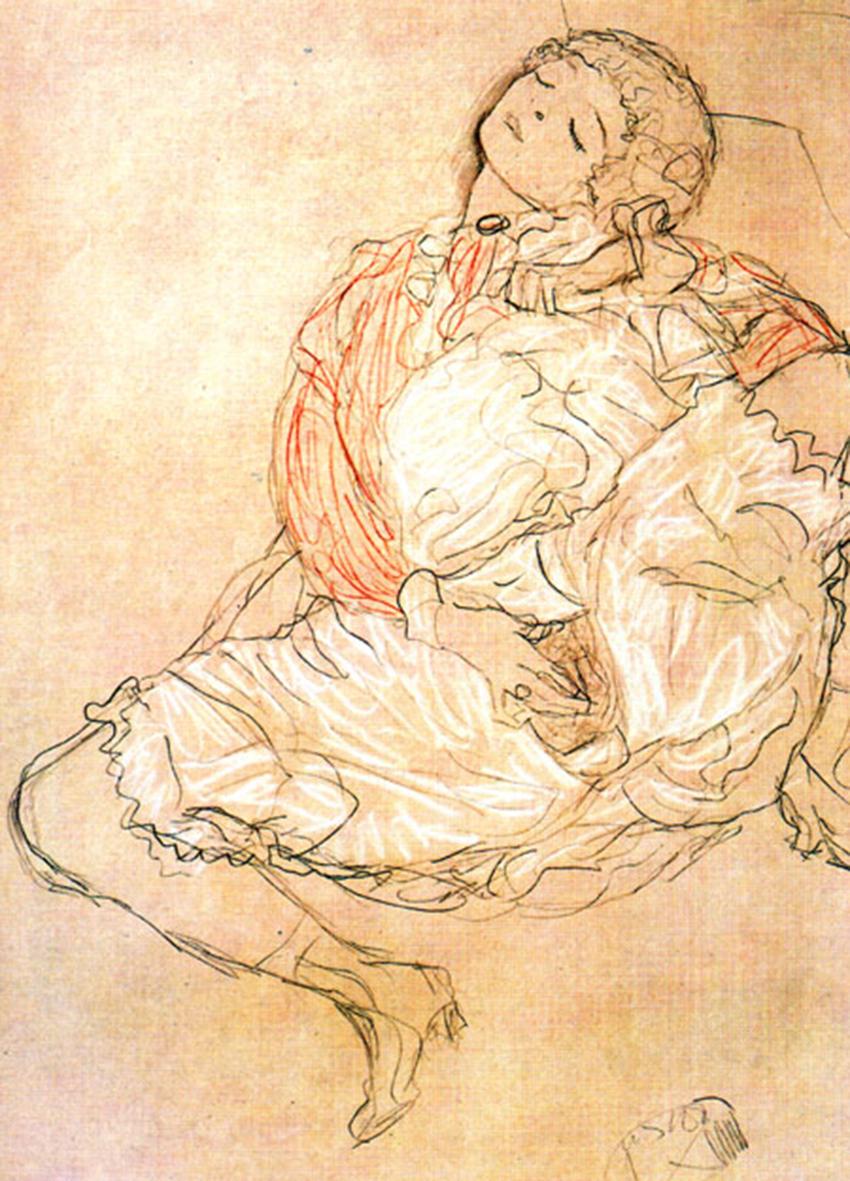 """IMAGEM: """"Masturbation"""", de Gustav Klimt"""