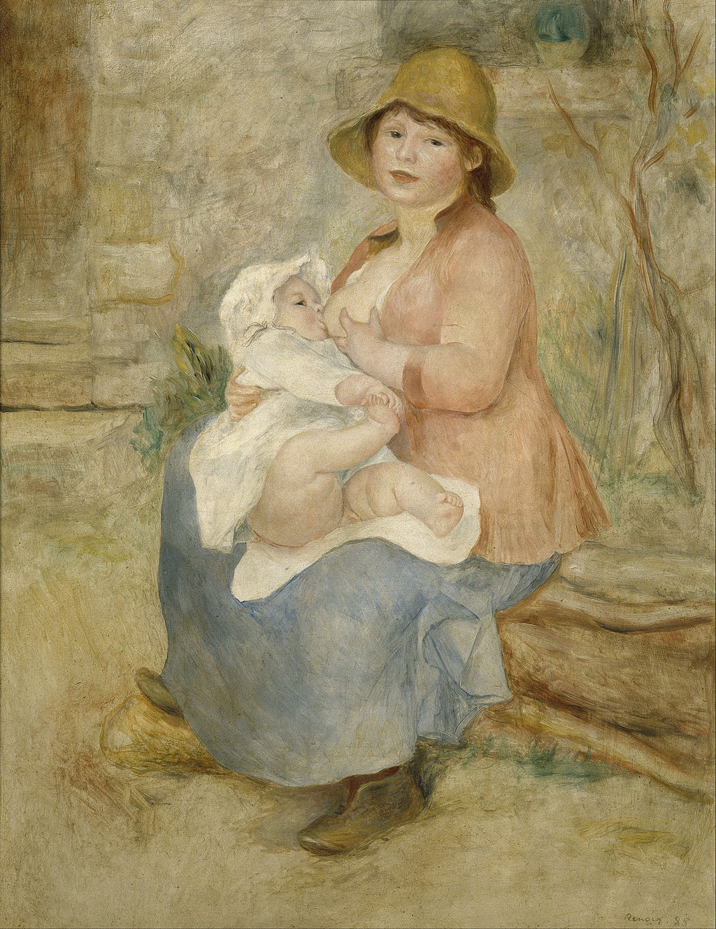 """A ideia da mãe amamentadora e super presente só surgiu após a Revolução Industrial - Imagem: """"Maternidade"""", de Auguste Renoir"""