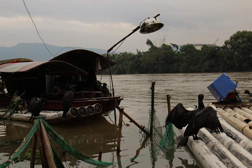 Este é o barco onde moram os avós pescadores de Ling Xie.