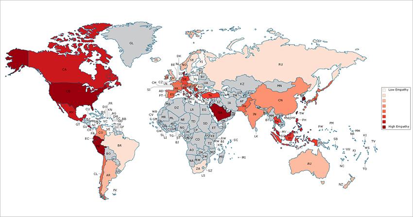 Resultado do estudo em mapa. Quanto mais forte a cor, maior a empatia e quanto mais clara, menor. Os países em cinza são os que não tivera representatividade de respostas.