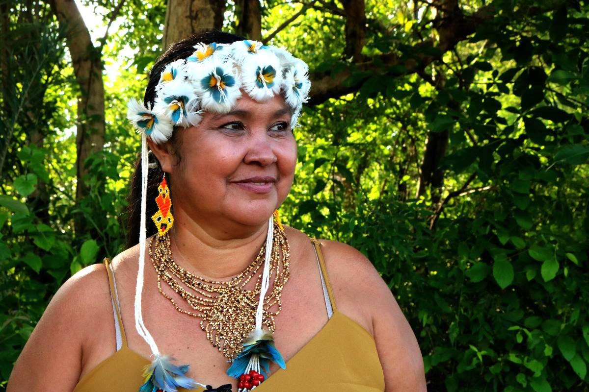 Eliane Karajá, coordenadora do Encontro da Associação Indígenas Vale do Araguaia (Foto: Maria Fernanda)