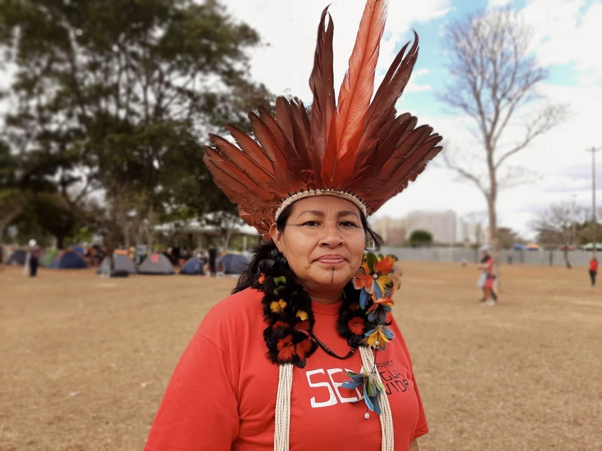 Telma Taurepang, da coordenação da União das Mulheres Indígenas da Amazônia Brasileira – Umiab (Foto: Maria Fernanda Ribeiro)